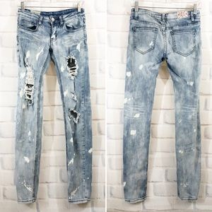 MACHINE | Light Wash Destroyed Denim Skinny Jeans